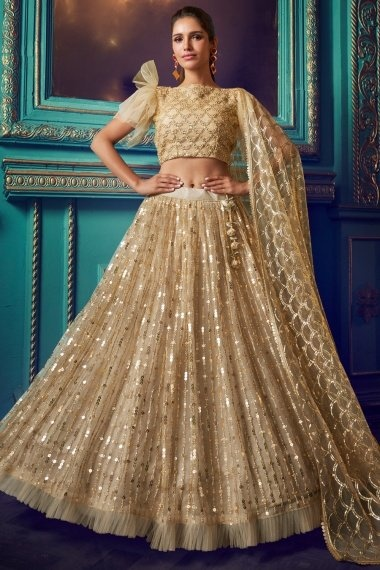 Beige Net Sequins Worked Lehenga Choli with Frill Border