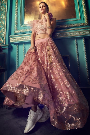 Pink Net Sequins Worked Lehenga with One Side Sleeved Blouse