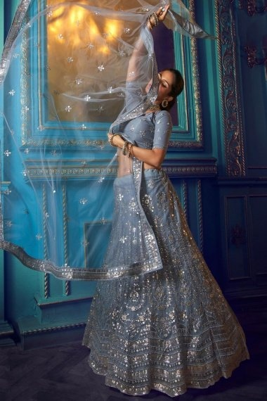 Grey Net Sequins Worked Lehenga with Designer Blouse