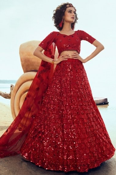 Red Net All Over Sequins Worked Lehenga Choli