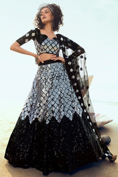 Black and Silver Net All Over Sequins Worked Lehenga Choli