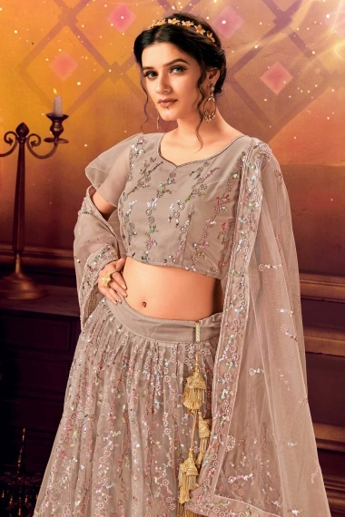 Taupe Net All Over Sequins Worked Lehenga Choli