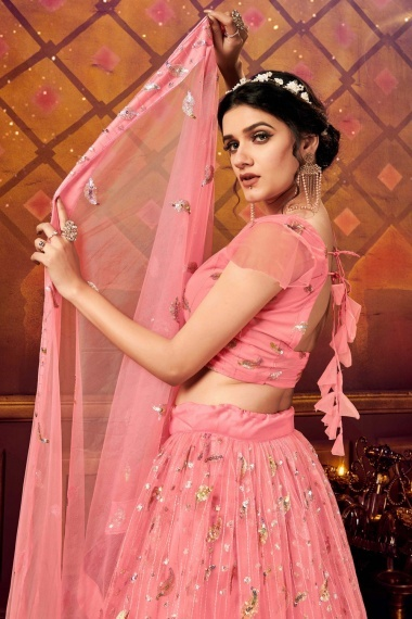 Pink Net Embroidered Flared Lehenga Choli with Sequins Work
