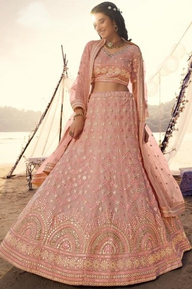 Dusty Peach Organza All Over Embroidered Lehenga Choli with Applique Work
