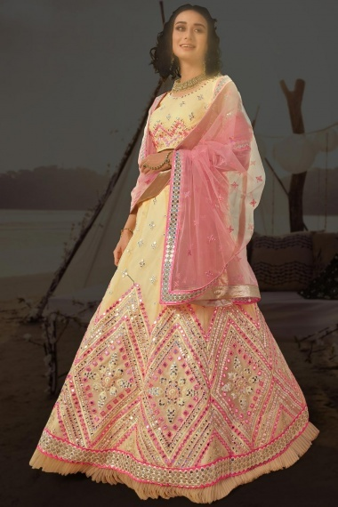 Pale Yellow Organza Multi Colored Embroidered Lehenga Choli with Applique Work