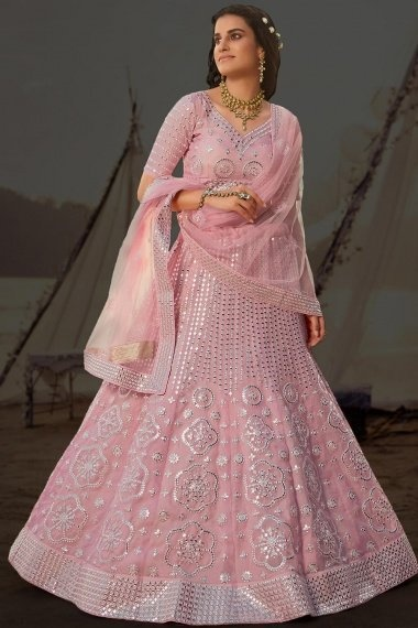 Pink Organza All Over Applique Worked Lehenga Choli