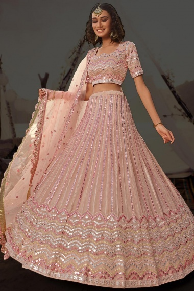 Dusty Peach Organza Embroidered Lehenga Choli with Applique Work