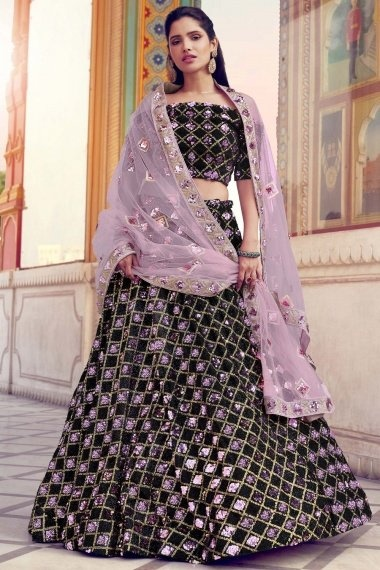 Black Imported Pink Sequins Worked Lehenga with Off Shoulder Blouse