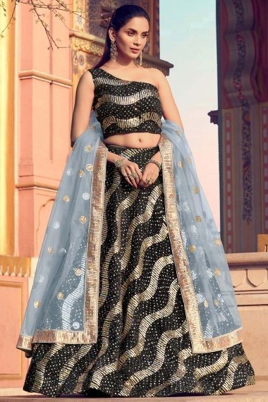 Black Imported Golden Sequins Worked Lehenga with One Side Off Shoulder Blouse