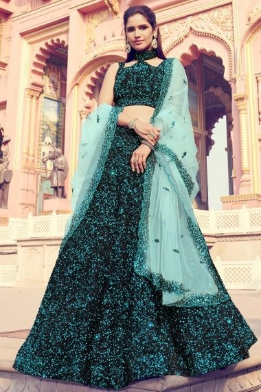 Black Imported Green Sequins Worked Lehenga with Fancy Blouse
