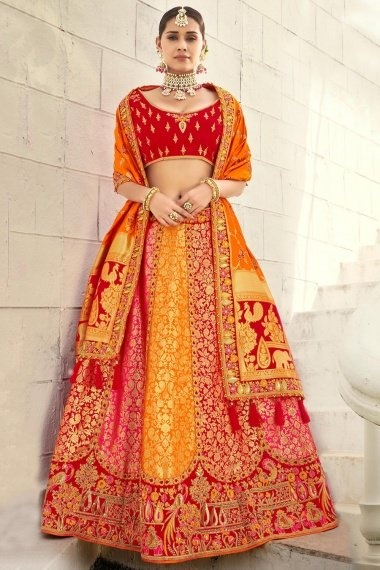 Red and Orange Silk Traditional Woven Lehenga Choli with Embroidered Peacock Motifs