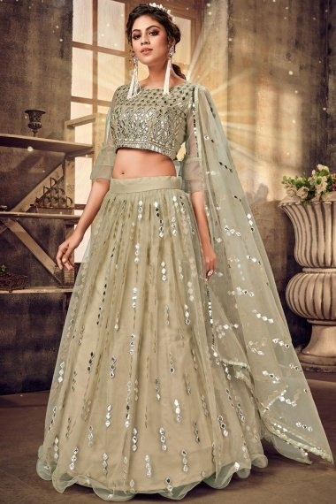 Sage Green Net Applique Worked Designer Lehenga Choli with Layered Bell Sleeves