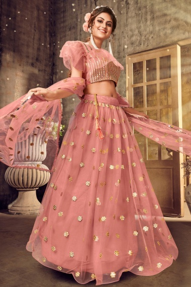 Dusty Pink Net Applique Worked Lehenga with Designer Blouse