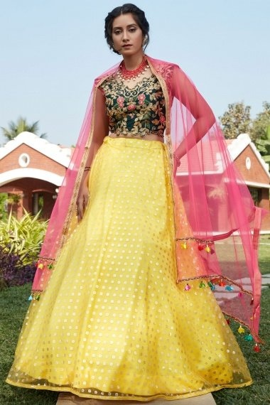 Yellow Net Foil Printed Lehenga with Embroidered Blouse