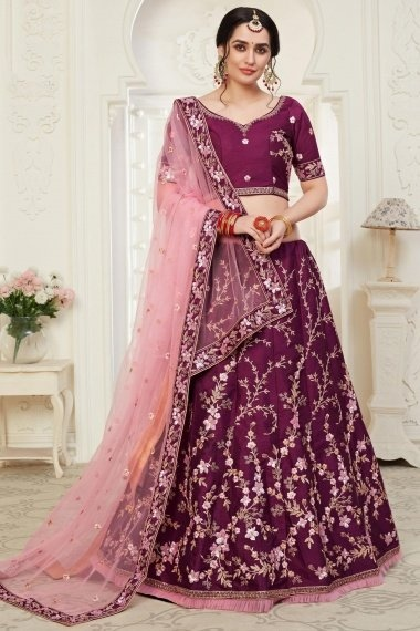 Purple Art Silk All Over Thread Embroidered Lehenga Choli with Sequins Work and Frill Border