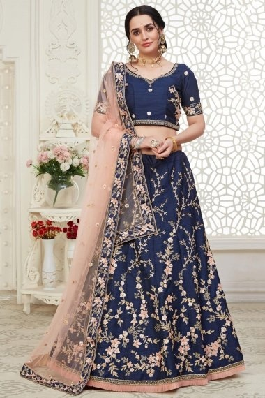 Blue Art Silk All Over Thread Embroidered Lehenga Choli with Sequins Work and Frill Border