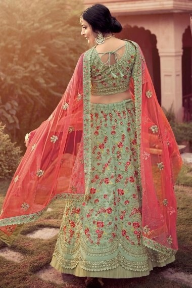 Pista Green Georgette Designer Floral Embroidered Lehenga Choli with Frill Border