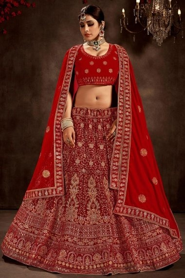 Red Velvet All Over Floral Embroidered Bridal Lehenga Choli with Pearl Work and Double Dupatta
