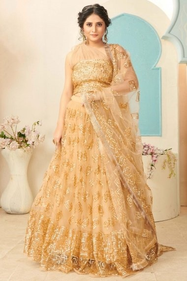 Beige Net Sequins Worked Lehenga with Fancy One Shoulder Blouse