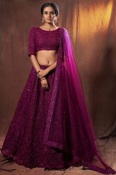 Purple Net Designer All Over Embroidered Lehenga Choli with Sequins Work