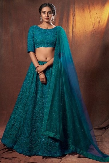 Teal Green Net Designer All Over Embroidered Lehenga Choli with Sequins Work
