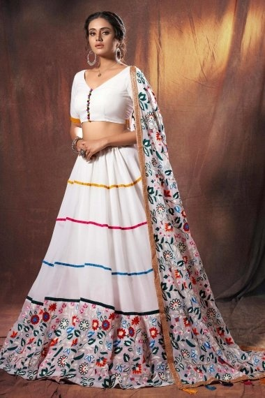 Off White Georgette Lehenga Choli with Multi Colored Floral Embroidered Border