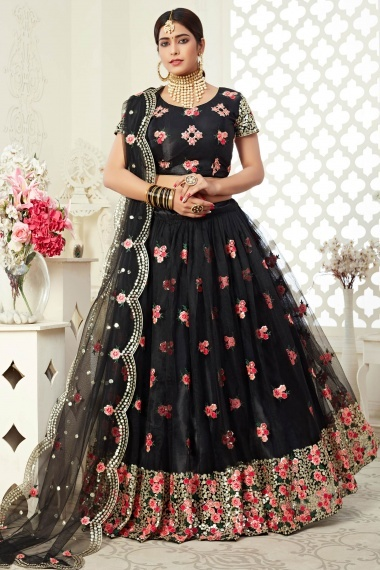 Black Net Floral Embroidered Flared Lehenga Choli with Sequins Work
