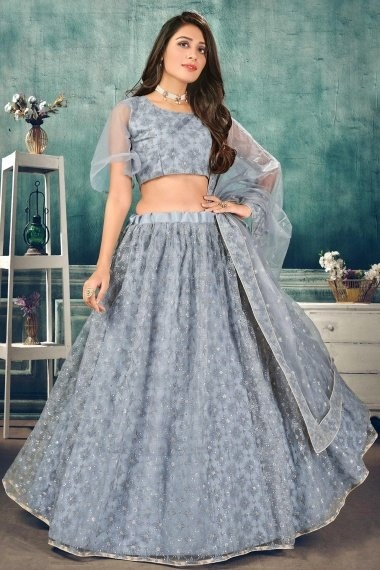 Grey Net Thred Embroidered Lehenga Choli with Sequins Work