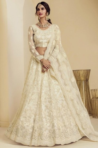 Off White Net Designer All Over Embroidered Lehenga Choli with Paisley Motifs