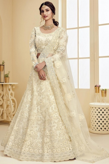 Off White Floral Embroidered Designer Lehenga Choli with Stone Work