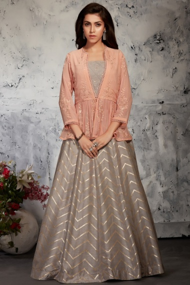 Taupe Silk Crop Top Woven Lehenga with Jacket