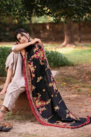 Black Cotton Multi Colored Woolen Thread Embroidered Dupatta with Tassels