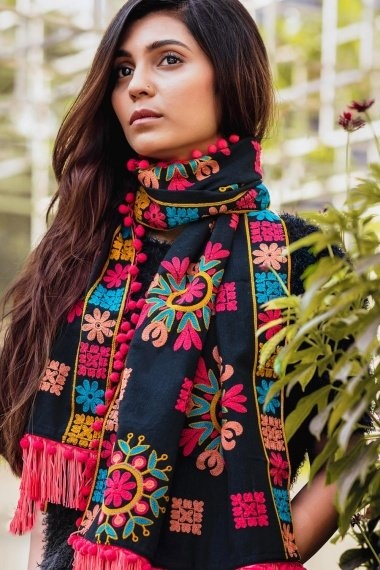 Navy Blue Cotton Dupatta with Woolen Thread Embroidey and Pompom