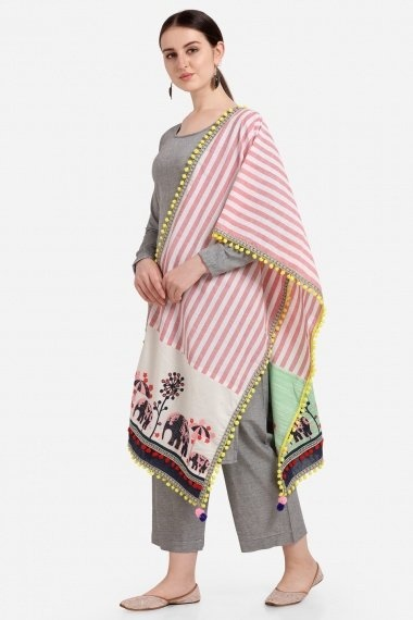 Off White and Pink Cotton Pompom Lace Stole