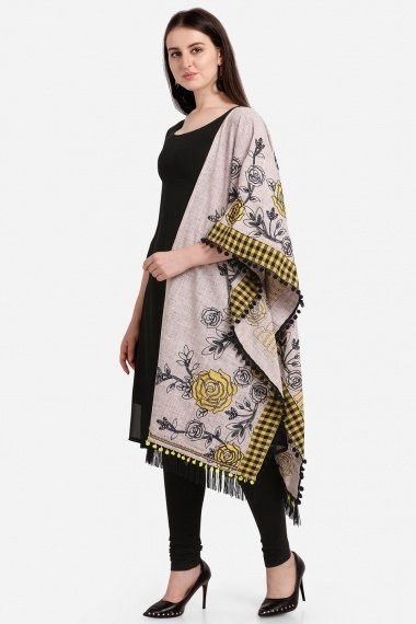Grey Cotton Floral Embroidered Stole
