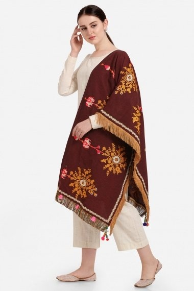 Maroon Cotton Stole with Fringes Border