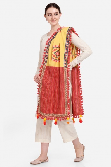Yellow and Red Cotton Stole with Tassels Lace