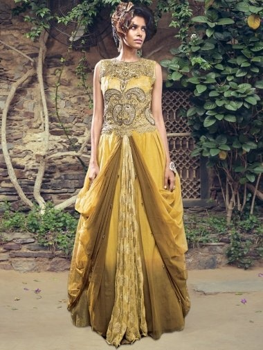 Mustard and Brown Net Gown with Resham Embroidery