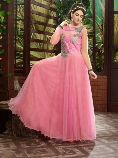 Pink Net Gown with Embroidery