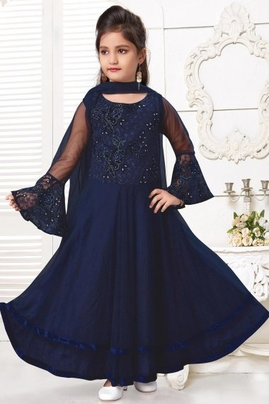 Navy Blue Imported Embroidered Anarkali Bell Sleeves Suit