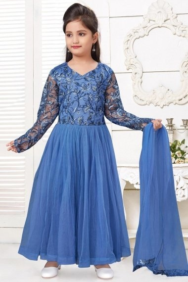 Blue Imported Pleated Anarkali Suit with Embroidery