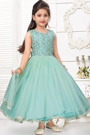 Mint Green Imported Silk Embroidered Flared Anarkali Suit