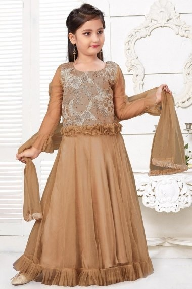 Peanut Brown Imported Embroidered Anarkali Suit with Frill Border