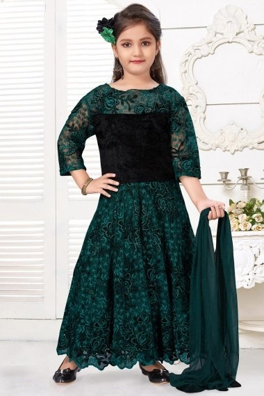 Forest Green Imported Embroidered Anarkali Suit