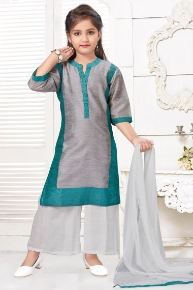 Grey and Green Silk Straight Cut Palazzo Suit