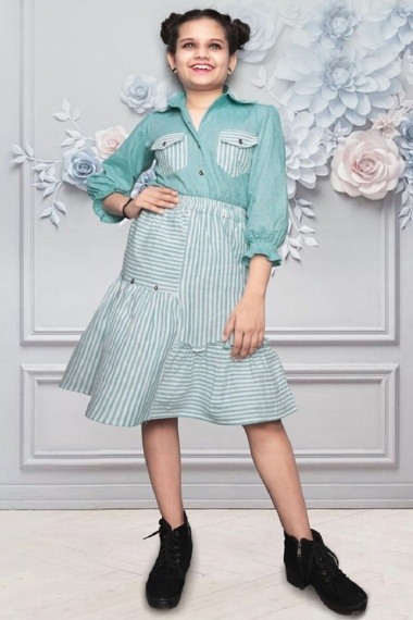 Sea Green Cotton Shirt Style Top with Pinted Skirt