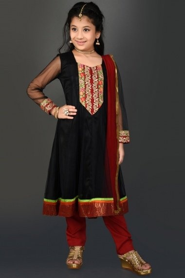 Black Net Anarkali Suit with Embroidery