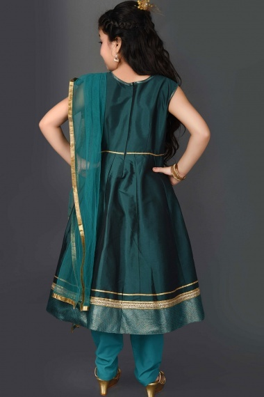Green Taffeta Anarkali Suit with Embroidery