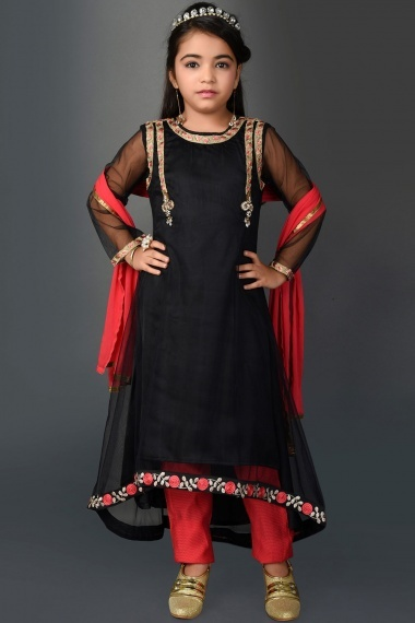 Black Net Up and Down Suit with Embroidery