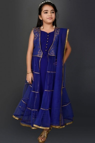 Blue Net Anarkali Suit with Pearl Work